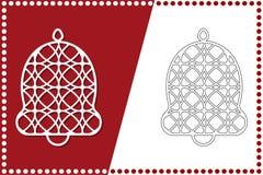 Современный колокол рождества Игрушка Нового Года для вырезывания лазера также вектор иллюстрации притяжки corel иллюстрация вектора