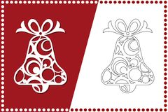 Современный колокол рождества Игрушка Нового Года для вырезывания лазера также вектор иллюстрации притяжки corel иллюстрация штока