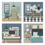 Современный комплект интерьера Кухня, спальня, живущая комната, рабочее место в стиле просторной квартиры Стоковые Изображения