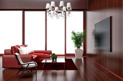 Современный красный дизайн интерьера живущей комнаты иллюстрация 3d Стоковая Фотография