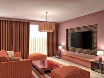 Современный красный дизайн интерьера живущей комнаты иллюстрация 3d Стоковая Фотография RF