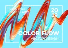 Современный красочный плакат подачи Форма волны жидкостная в голубой предпосылке цвета Дизайн искусства для вашего дизайн-проекта Иллюстрация штока