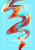 Современный красочный плакат подачи Форма волны жидкостная в голубой предпосылке цвета Дизайн искусства для вашего дизайн-проекта Иллюстрация вектора