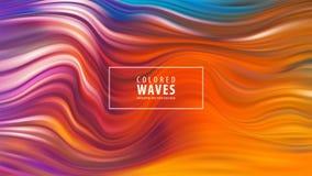 Современный красочный плакат подачи Форма волны жидкостная в голубой предпосылке цвета Конструкция искусства также вектор иллюстр бесплатная иллюстрация