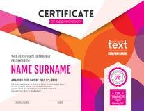 Современный красочный шаблон дизайна предпосылки сертификата кругов бесплатная иллюстрация