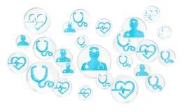 Современный медицинский интерфейс с переводом значков 3D Стоковые Изображения