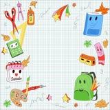 Современный, милый, нарисованные рукой детали школы в стиле шаржа Стоковое Изображение
