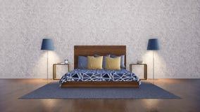 Современный минималистский интерьер спальни с белой стеной иллюстрация штока