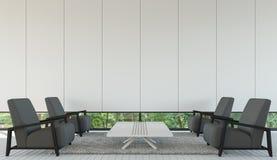 Современный минималистичный стиль живущей комнаты внутренний с черно-белым изображением перевода 3d Стоковое Изображение RF