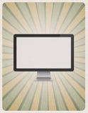 Современный монитор компьютера на ретро предпосылке Стоковое Изображение