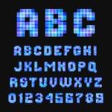 Современный неоновый шрифт пиксела на черной предпосылке Стоковая Фотография