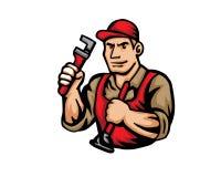 Современный логотип шаржа людей занятия - водопроводчик иллюстрация штока