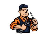 Современный логотип шаржа людей занятия - механик иллюстрация штока