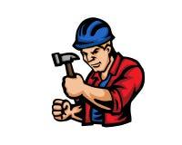 Современный логотип шаржа людей занятия - рабочий-строитель иллюстрация вектора