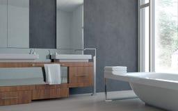 современный домашний дизайн интерьера ванной комнаты 3D Стоковое Фото