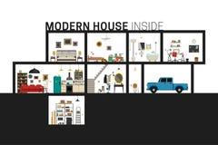 Современный дом в отрезке Стоковые Изображения