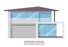 Современный дом, недвижимость подписывает внутри плоский стиль также вектор иллюстрации притяжки corel Стоковое фото RF