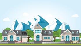 Современный дом семьи на горе против предпосылки голубого неба бесплатная иллюстрация
