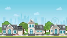 Современный дом семьи с автомобилем иллюстрация вектора