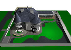 Современный дом стиля замка, 3D представляет Стоковые Фотографии RF