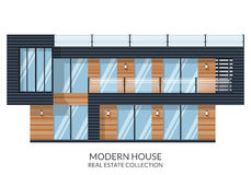 Современный дом с большой крышей, недвижимостью подписывает внутри плоский стиль также вектор иллюстрации притяжки corel Стоковая Фотография RF