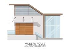 Современный дом с террасой, недвижимостью подписывает внутри плоский стиль также вектор иллюстрации притяжки corel Стоковая Фотография RF