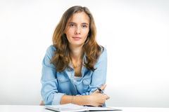 Современный оператор на приеме или студент на лекции стоковые фотографии rf