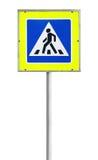 Современный пешеходный переход изолированного дорожного знака Стоковые Фото