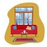 Современный плоский интерьер комнаты прожития идеи проекта Красная софа с таблицей, ковром, набором фарфора в комнате с большим о иллюстрация вектора