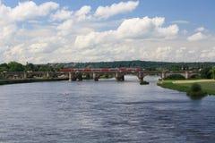 Современный поезд на мосте в Дрездене, Германии Стоковые Изображения RF