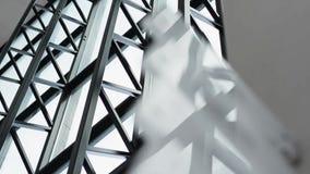 Современный потолок детал-стекла архитектуры в офисном здании съемка steadicam сток-видео