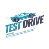 Современный привод испытания плаката с автомобилем бесплатная иллюстрация