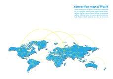 Современный проектирования сети соединений карты мира, самой лучшей концепции интернета дела карты мира от серии концепций Стоковое Изображение