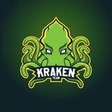 Современный профессиональный логотип для команды спорта Талисман Kraken Осьминог, символ вектора на темной предпосылке Стоковые Изображения RF