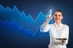 Современный пункт диаграммы и бизнес-леди на диаграмме стоковое фото