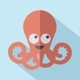 Современный плоский значок осьминога дизайна Стоковые Изображения
