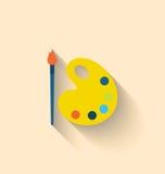 Современный плоский значок щетки и палитры с красками бесплатная иллюстрация