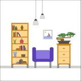 Современный плоский дизайн интерьера живущей комнаты Стоковая Фотография RF