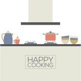 Современный плоский интерьер кухни дизайна Стоковое Изображение