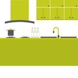 Современный плоский интерьер кухни дизайна Стоковая Фотография RF