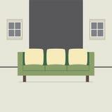 Современный плоский интерьер софы дизайна Стоковые Фото