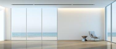 Современный пляжный домик внутренний, комната расслабляющего вида на море живущая стоковые фото