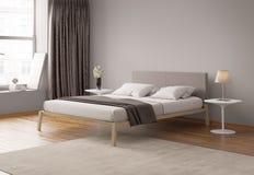 Современный серый интерьер спальни Стоковое фото RF