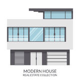Современный серый дом, недвижимость подписывает внутри плоский стиль также вектор иллюстрации притяжки corel Стоковая Фотография