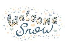 Современный смешной снег гостеприимсва литерности Цвет вектора чертежа руки Стоковое Изображение