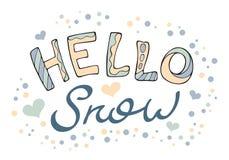 Современный смешной снег литерности здравствуйте! Стоковое Фото