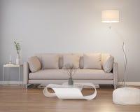 Современный современный серый интерьер с деревянным полом Стоковая Фотография RF