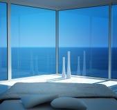 Современный солнечный интерьер спальни с фантастическим взглядом seascape Стоковая Фотография