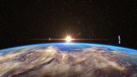 Современный спутник двигает по орбите земля иллюстрация штока