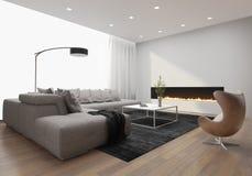 Современный стильный интерьер просторной квартиры, с современным камином